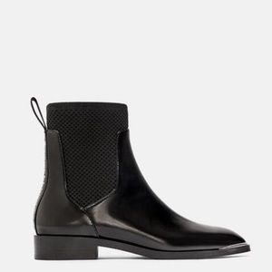 ZARA   Chelsea Sock Boots Ankle Studded Silver